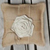 "10""x10"" Natural Burlap Ring Bearer Pillow w/ Large Cream Rosette & Burlap Ribbon/Jute Twine"