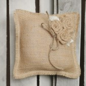 "8"" x 8"" Natural Burlap Ring Bearer Pillow w/ Burlap Rosettes/Jute Twine Detail"