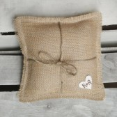 "8"" x 8"" Natural Burlap Ring Bearer Pillow w/ Jute Twine and Wool Felt Heart-Personalize w/ Initials"
