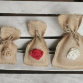 "Set of 12- Small (3""x6"") Burlap Fringe Rosette Favor Bags w/ Jute Twine"
