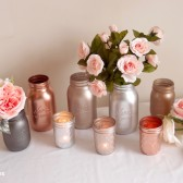 Rose Gold, Copper, Silver and Gray Painted Mason Jars