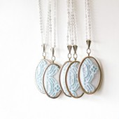 Baby blue lace necklace for bridesmaids
