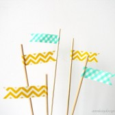 Cake Topper Flags Yellow and Mint