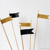 Cake Topper Flags Gold and Black