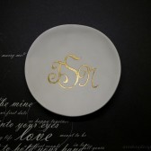 Gilded Monogram Ring Bowl Custom Clay Ring Dish
