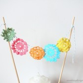 Doily Cake Topper Bunting