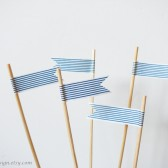 Cake Topper Flags Blue and White Stripes Washi Tape Picks Set of 5