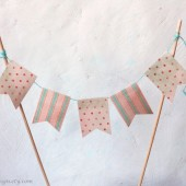 Cake Topper Bunting 5 Paper Flags Dots and Stripes