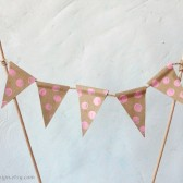 Pink Polka Dots Cake Topper Bunting Brown Kraft Paper Pennant Banner