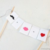 Mustache and Lips Cake Topper Bunting Handpainted Fabric