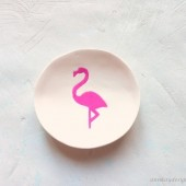 Pink Flamingo Ring Bowl White Clay Ring Dish