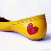 Red Glitter Heart Shoe Sticker