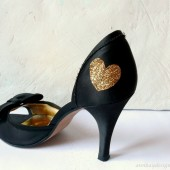 Gold Glitter Heart Shoe Sticker Bridal Shoe Decal