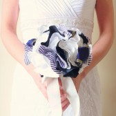 Nautical Wedding Bridal Bouquet with White Blue and Gold Fabric Flowers