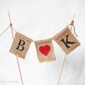 Burlap Banner Cake Topper with Custom Initials and Heart Personalized Cake Bunting