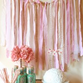 Fabric Garland Rag Streamer Backdrop with Burlap and Lace