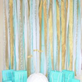 Fabric Garland Rag Streamer Backdrop with Mint and Gold Fabric , Lace and Tulle