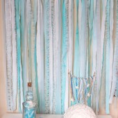 Fabric Garland Rag Streamer Backdrop with Mint Fabric , Lace and Tulle