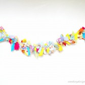 Rag Tie Garland Knotted Fabric Streamer Backdrop in Summer Colors