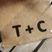 Personalized Natural Fringe Burlap Table Runner-Many Lengths Available