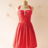 Red Bridesmaid Dress Vintage Inspired Party Dress -Size XS, S, M, L, CUSTOM-