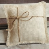 "8"" x 8"" Off White Burlap Ring Bearer Pillow w/ Jute Twine"