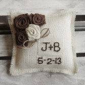 "8"" x 8"" Off White Burlap Ring Bearer Pillow w/ Rosettes -Jute Twine-Custom-Intials & Wedding Date"