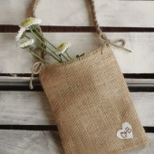 Burlap Flower Girl Bag w/ Heart and Jute Twine Handle