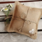 "8"" x 8"" Natural Burlap Ring Bearer Pillow w/ Jute Twine and Heart -Personalize w/ Initials & Wed Date"