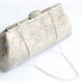 Champagne, Platinum Grey and Steel Grey Bridal Clutch