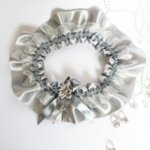 Wedding Bridal Garter Silver Ribbon Lace and flower
