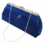 Royal Blue and Champagne Monogram Bridal Clutch
