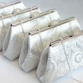 Silver Paisley and Eggplant Bridesmaid Clutch Set