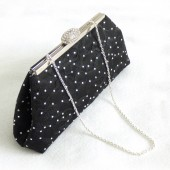 Black Rhinestone Bridal Clutch