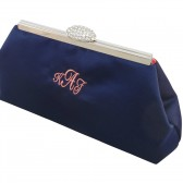 Navy Blue and Coral Monogram Bridal Clutch