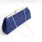 Navy Blue and Silver Bridal Clutch