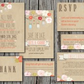 Wedding Invitation Suite Set - Printable, Custom, DIY - RUSTIC, KRAFT Paper, Jars