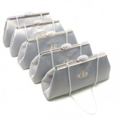 Platinum Grey and Jade Green Monogram Bridesmaid Clutches