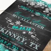Chalkboard Bridal Shower Invitation with snowflakes and great typography
