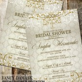 Fancy Damask Wedding Bridal Shower Invitations