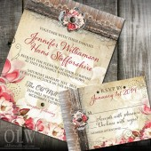 Rustic Magnolia Wedding Invitation and RSVP stationery
