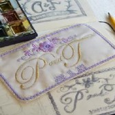 French Silk Satin Lavender and  Gold Custom Embroidered Wedding Dress Label