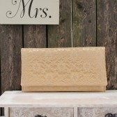 Pale Gold Lace and Champagne Gold Satin Amelia Clutch