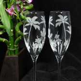 Palm Tree champagne flutes, tropical beach destination wedding