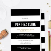 Parisian Stripe Pop Fizz Clink Printable Bridal Shower Invitation