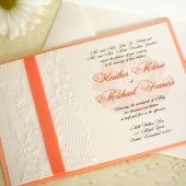 Peach Floral Wedding Invitation