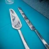 Peacock Wedding Cake Server & Knife Set