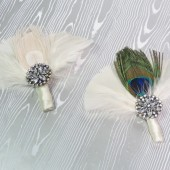 Peacock Feather Fan Boutonniere