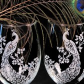 Stemless Wine Glasses, Peacock Wedding Decor
