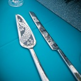 peacock wedding Cake Server and knife set